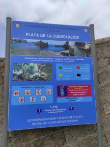 Cartel indicaciones Playa de la Consolación