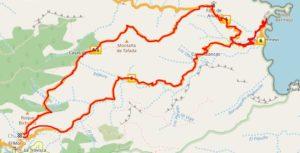Mapa de la ruta circular Chamorga Roque Bermejo, bajando por Tafada y pasando por el Faro de Anaga.